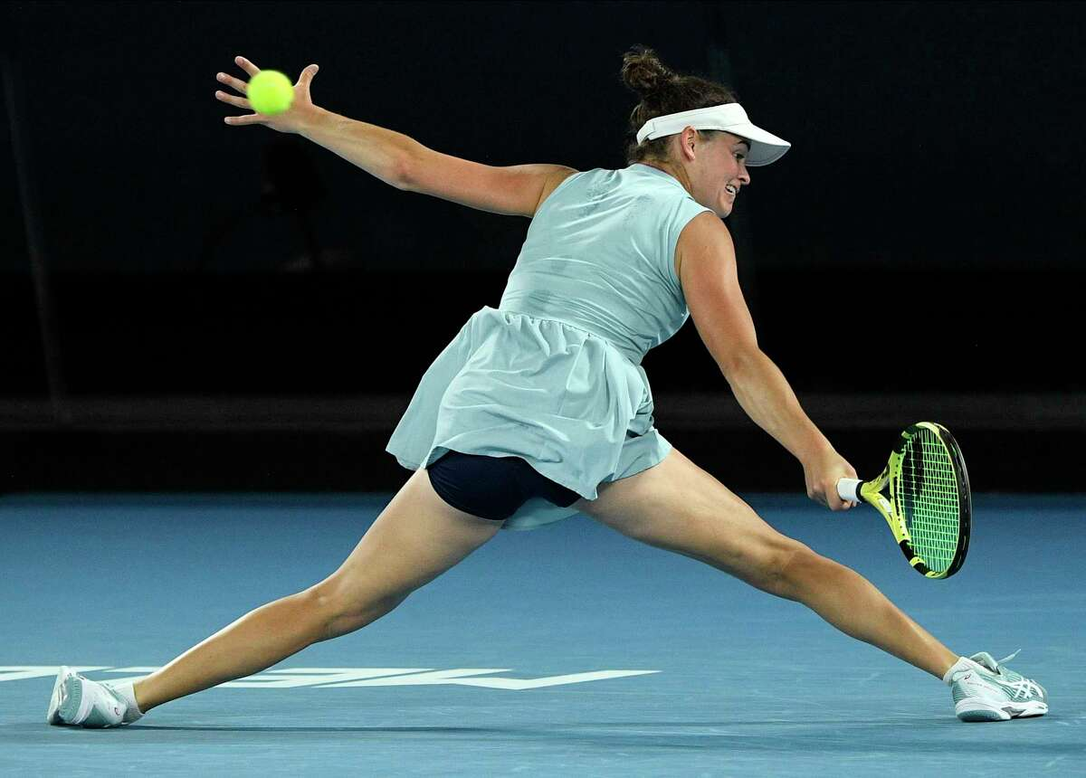 United States' Jennifer Brady hits a return to Japan's Naomi Osaka during the women's singles final at the Australian Open tennis championship in Melbourne, Australia, Saturday, Feb. 20, 2021.