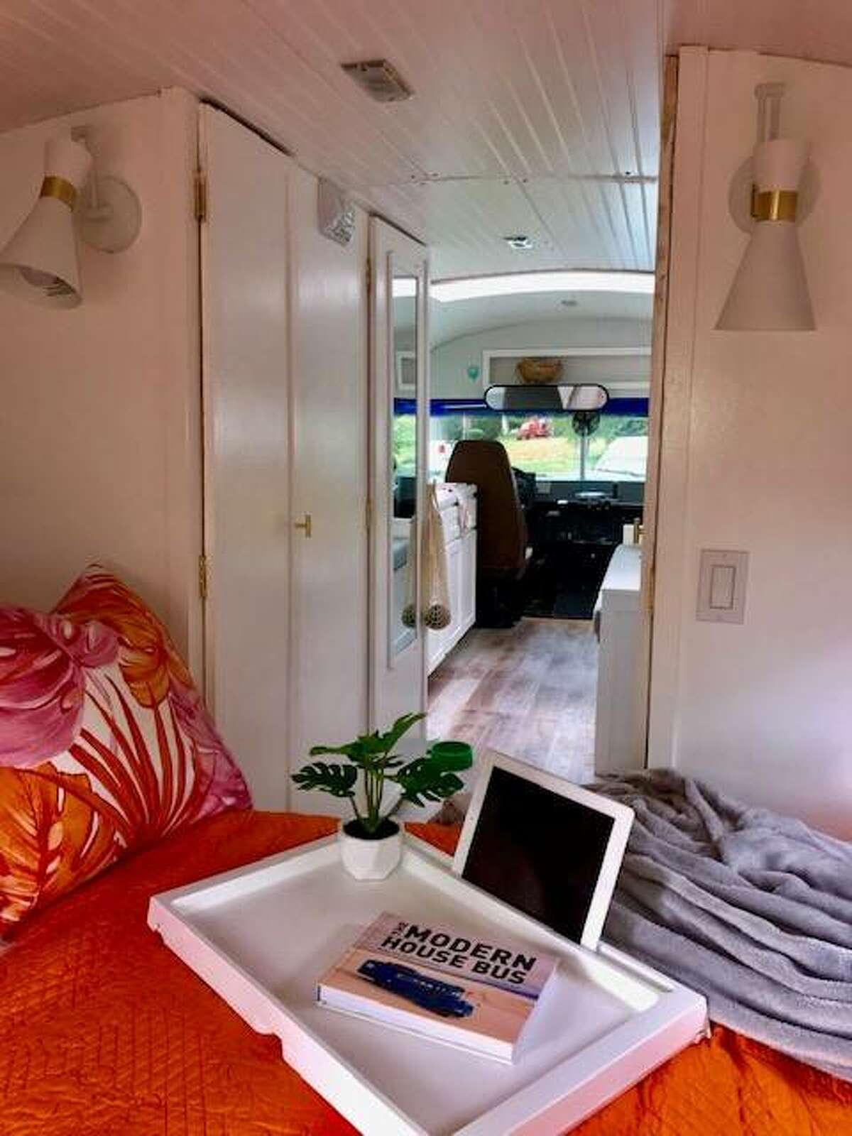 """A photo of the interior of a """"Skoolie,"""" a refitted school bus built by Lana and Mark Maue of Edwardsville."""