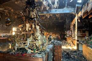 This photo shows the wreckage of popular Katy restaurant Midway BBQ, which caught fire in the early hours of Saturday, Feb. 20, 2021.