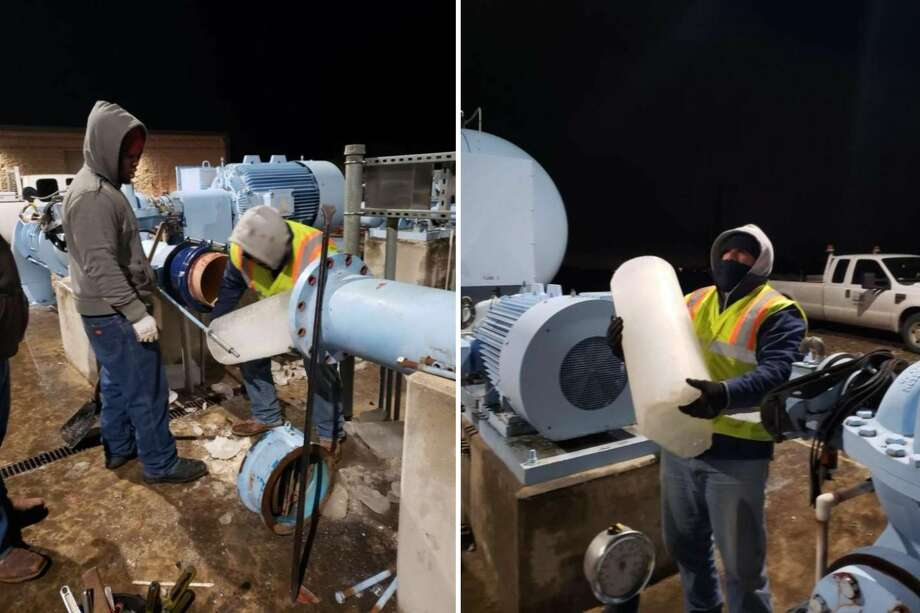 """Brandon Banda, a SAWS worker, hauls an """"ice slug"""" Thursday night from a pump station in the 7800 block of Huermann Road. The water inside the pump froze after CPS Energy cut power to the station. Photo: Courtesy Of SAWS"""
