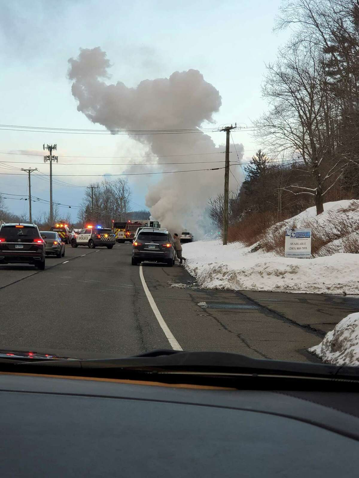 Police and fire units were called to a fully-involved car fire on Route 7 near the Danbury-Ridgefield border. One person was taken to the hospital, according to dispatch reports.
