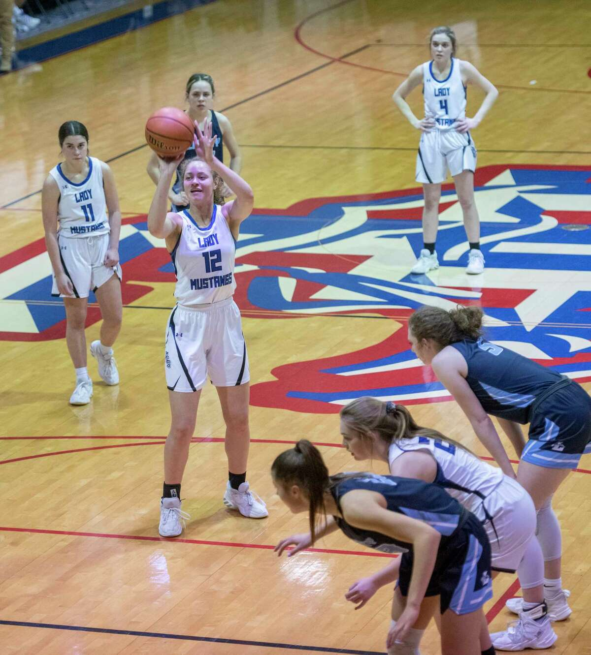 Midland Christian's Brooklyn Johnson puts up a free throw against Argyle Liberty 02/20/2021 at the McGraw Event Center. Tim Fischer/Reporter-Telegram