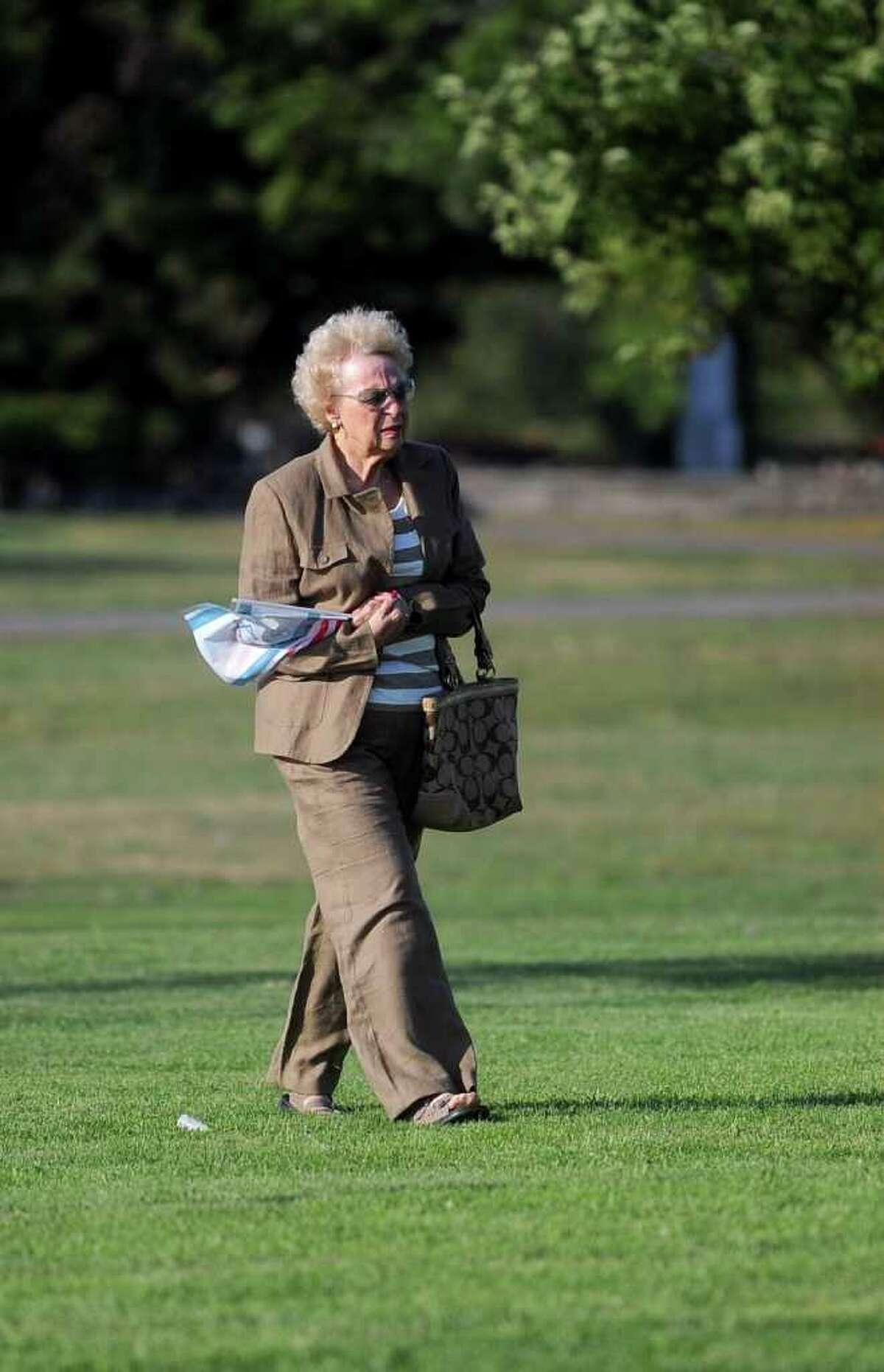 Sondra Foner of New City, NY, walks to the September 11 memorial at Sherwood Island State Park before the service Tuesday, September 7, 2010.