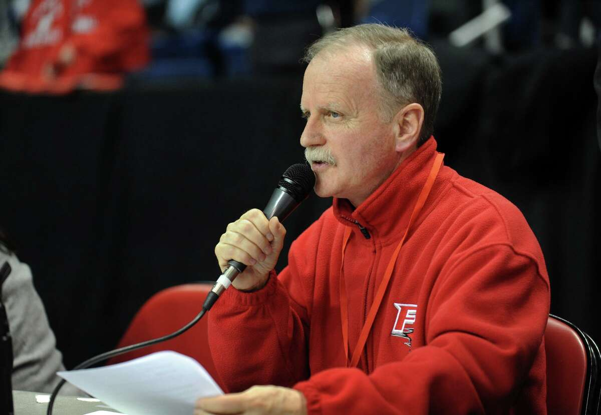 Announcer Jim Fitzpatrick during men's basketball action between Siena and Fairfield University at the Webster Arena at Harbor Yard in downtown Bridgeport, Conn. on Friday February 25, 2011.