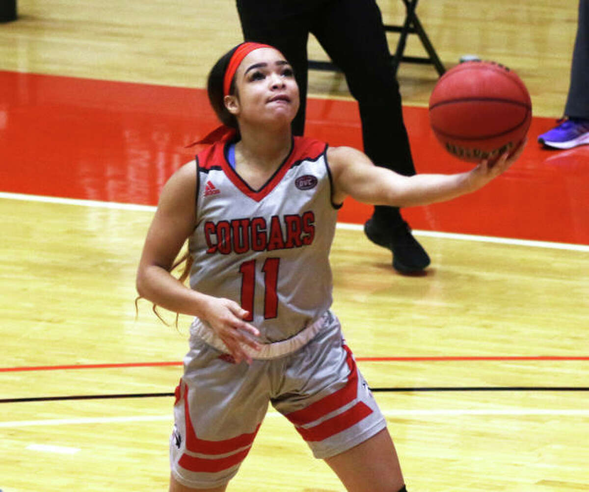 SIUE's Mikia Keith scored a career-high 20 points in the Cougars' OVC women's basketball loss to Murray State in Murray, Ky.