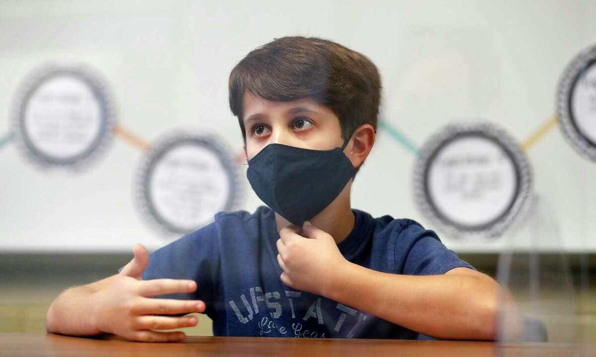 Fifth grader, Caue Da Silva 11, talks about his experience since moving to Texas from Brazil at Creekside Forest Elementary in Tomball ISD, in Spring, Wednesday, Feb. 3, 2021. Creekside Forest Elementary earned the number two spot for best elementary school in the Houston region in Children at Risk's annual rankings. Tomball ISD was rated as the best school district in the region and fifth best in the state.