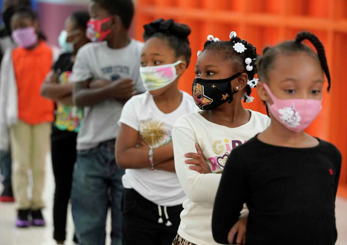 Students are shown at Atherton Elementary School, 2011 Solo St., Tuesday, Oct. 20, 2020 in Houston.
