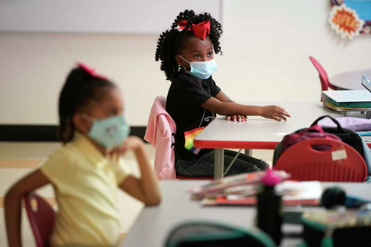Students in a prekindergarten class are shown at Atherton Elementary School, 2011 Solo St., Tuesday, Oct. 20, 2020 in Houston.