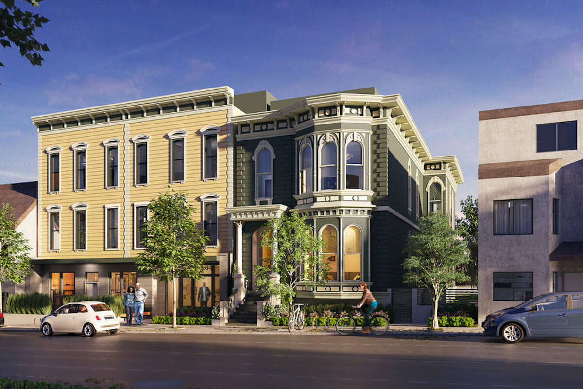 Renderings of the Victorian home previously at 807 Franklin Street next to the former mortuary on Fulton Street.