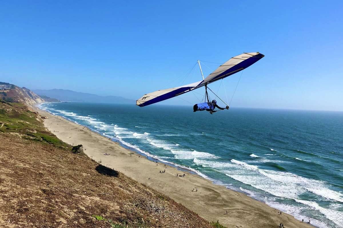 Hang gliding at Fort Funston in San Francisco.