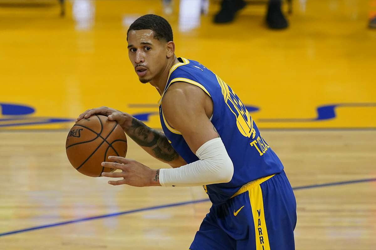 Golden State Warriors forward Juan Toscano-Anderson against the Brooklyn Nets during an NBA basketball game in San Francisco, Saturday, Feb. 13, 2021. (AP Photo/Jeff Chiu)