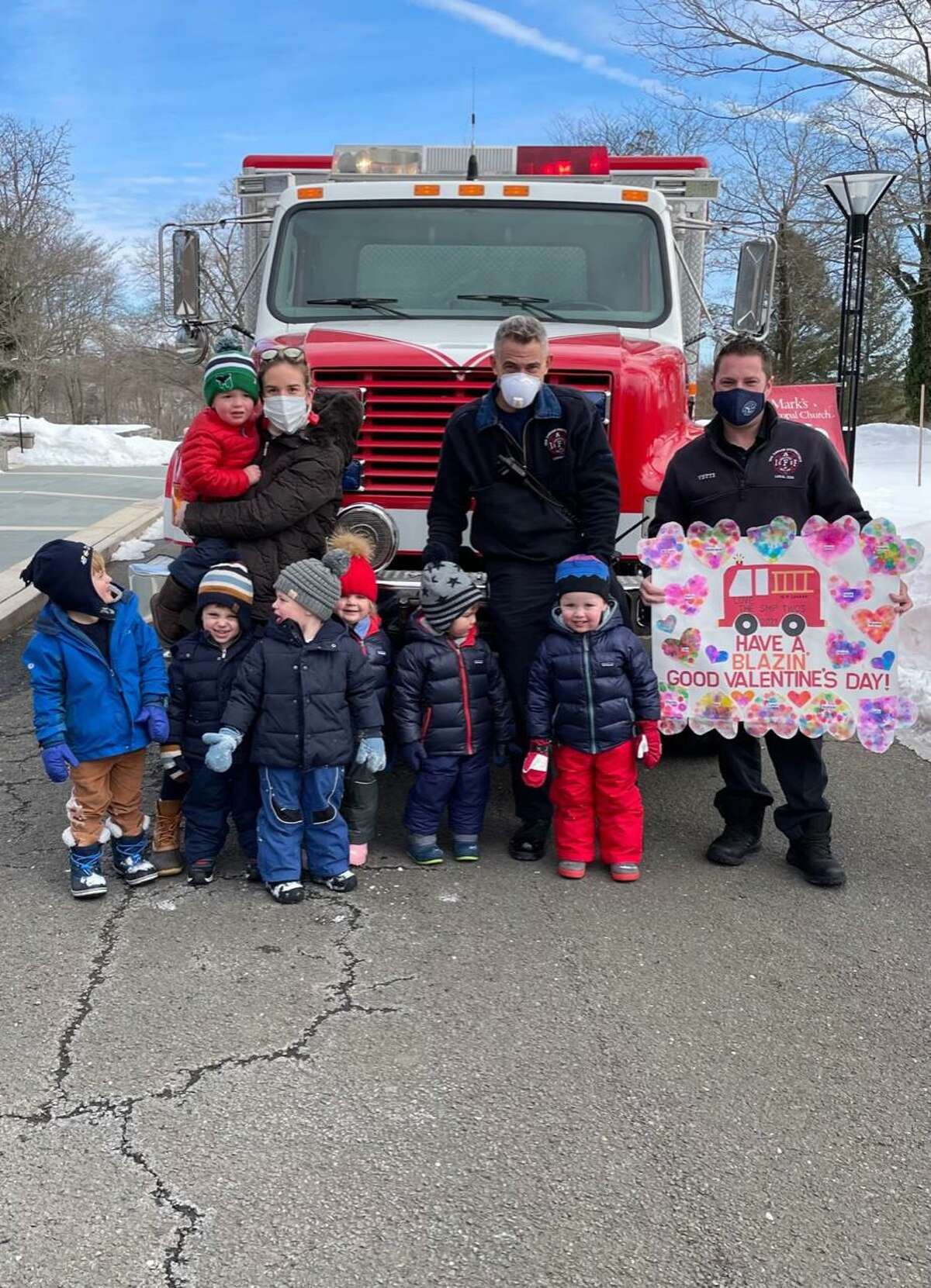 St. Mark's Preschool in New Canaan recently delivered Valentines to essential workers in the town amid the coronavirus pandemic.