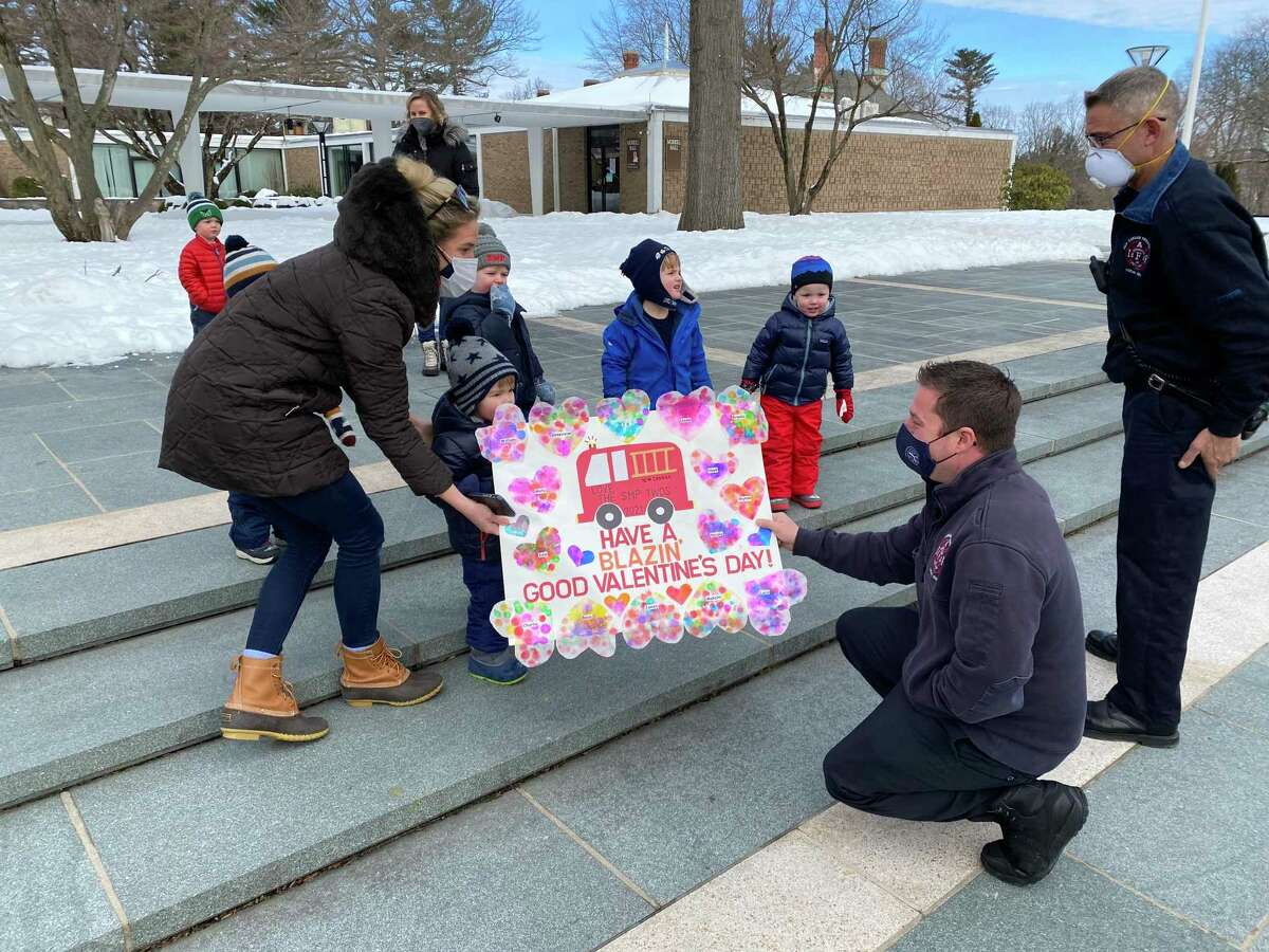 St. Mark's Preschool in New Canaan recently delivered Valentines Day gifts to essential workers in the town amid the coronavirus pandemic.