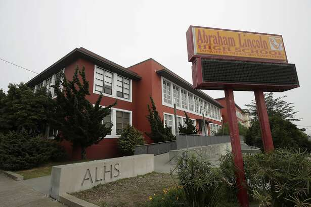 FILE - In this March 12, 2020, file photo, is the Abraham Lincoln High School in San Francisco. The city of San Francisco took a dramatic step Wednesday, Feb. 3, 2021, in its effort to get children back into public school classrooms, suing its own school district to try to force open the doors amid the coronavirus pandemic. The lawsuit was the first of its kind in California and possibly the country, as school systems come under increasing pressure from parents and politicians to end virtual learning. (AP Photo/Jeff Chiu, File)