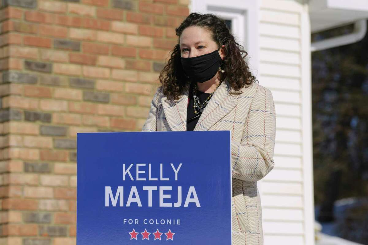 Kelly Mateja, the Democratic Party?•s endorsed candidate for Colonie Town Supervisor, speaks at an event outside her home on Sunday, Feb. 21, 2021, in Colonie, N.Y. (Paul Buckowski/Times Union)