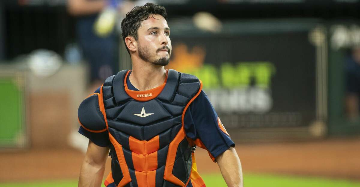 Houston Astros catcher Garrett Stubbs walks back to the dugout during a simulated game, part of the team's summer camp workout, Monday, July 13, 2020, at Minute Maid Park in Houston.