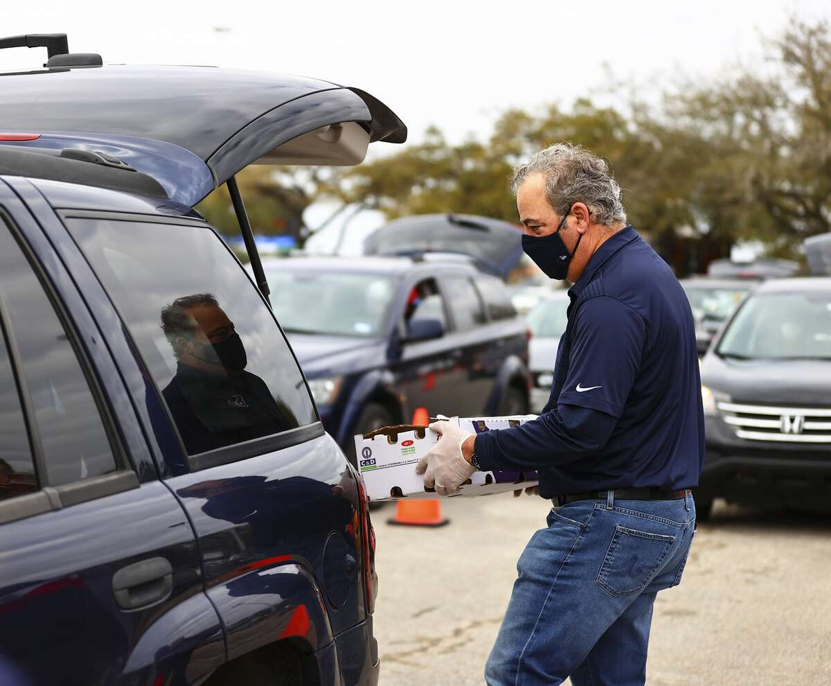 An image from the Feb. 21, 2021 Houston Food Bank distribution at NRG Stadium.