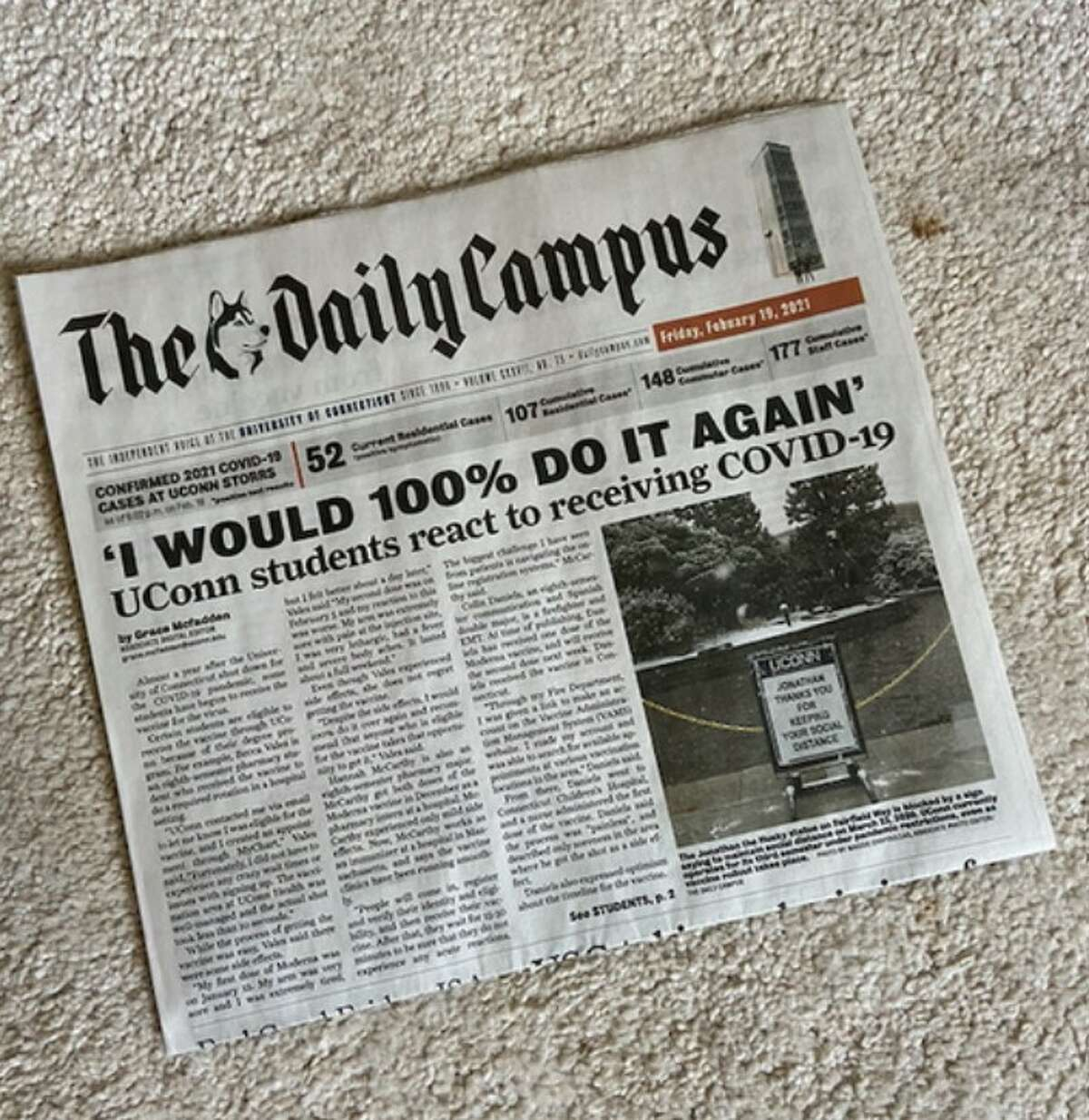 The front page of the Daily Campus, UConn's student newspaper, on Friday, February 19, 2021.