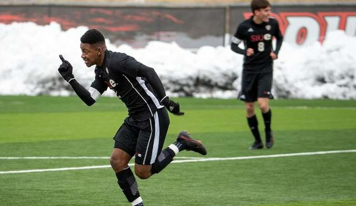 SIUE's Vincent Jackson II scores the first goal in a 3-0 victory for the Cougars on Sunday.