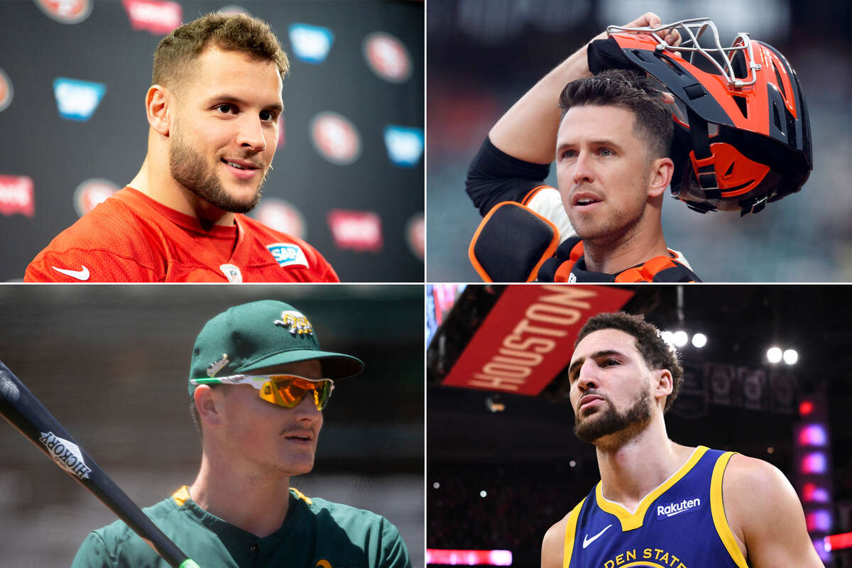 Nick Bosa (clockwise, from top left), Buster Posey, Klay Thompson and Matt Chapman all could write great comeback stories this year.