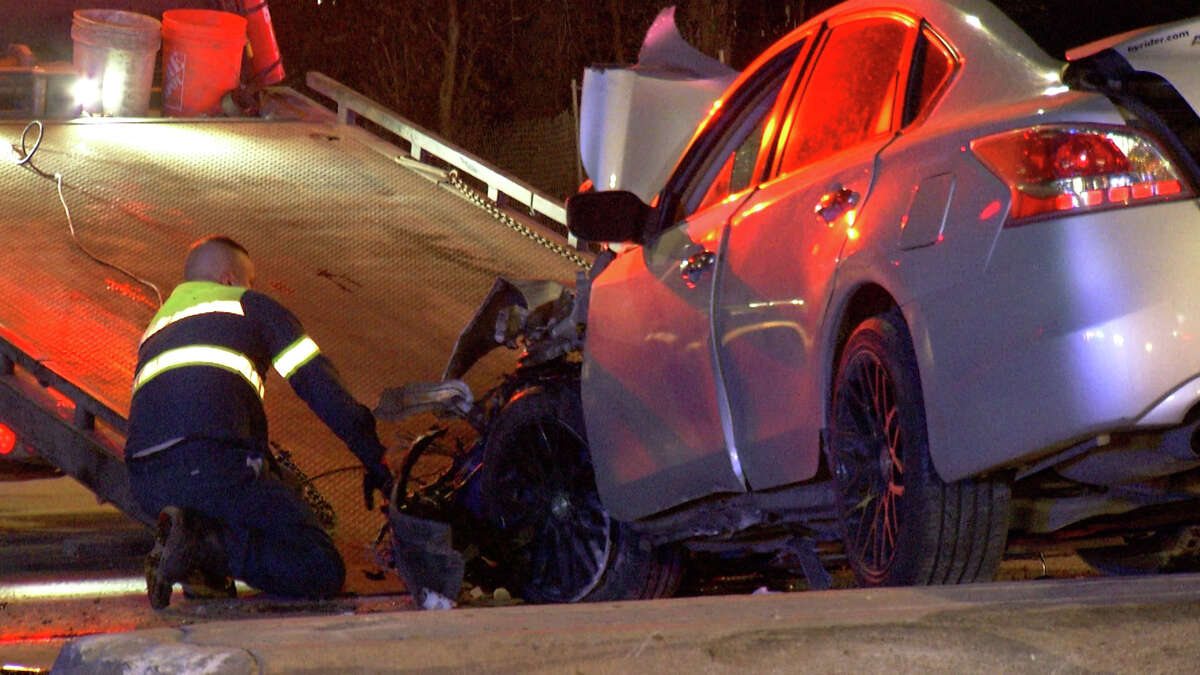 Four people were hospitalized after a possible drunk driver collided with an ambulance Monday morning.