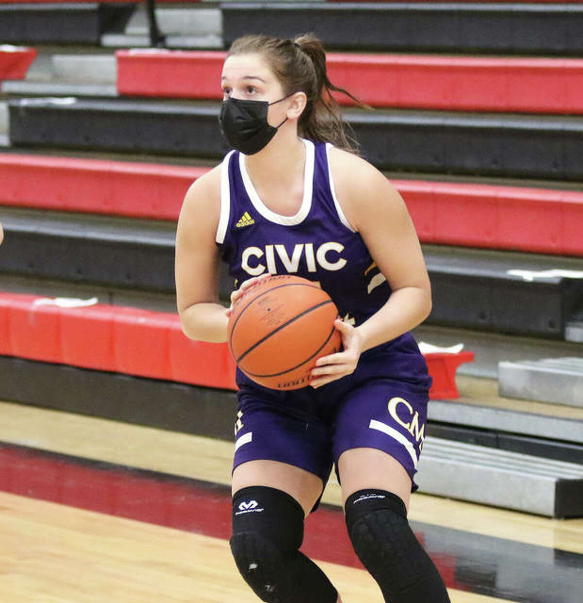 CM senior Harper Buhs looks to shoot during the Eagles' MVC victory last Thursday in Highland. Buhs is back for CM after missing most of her junior season recovering from ACL surgery.