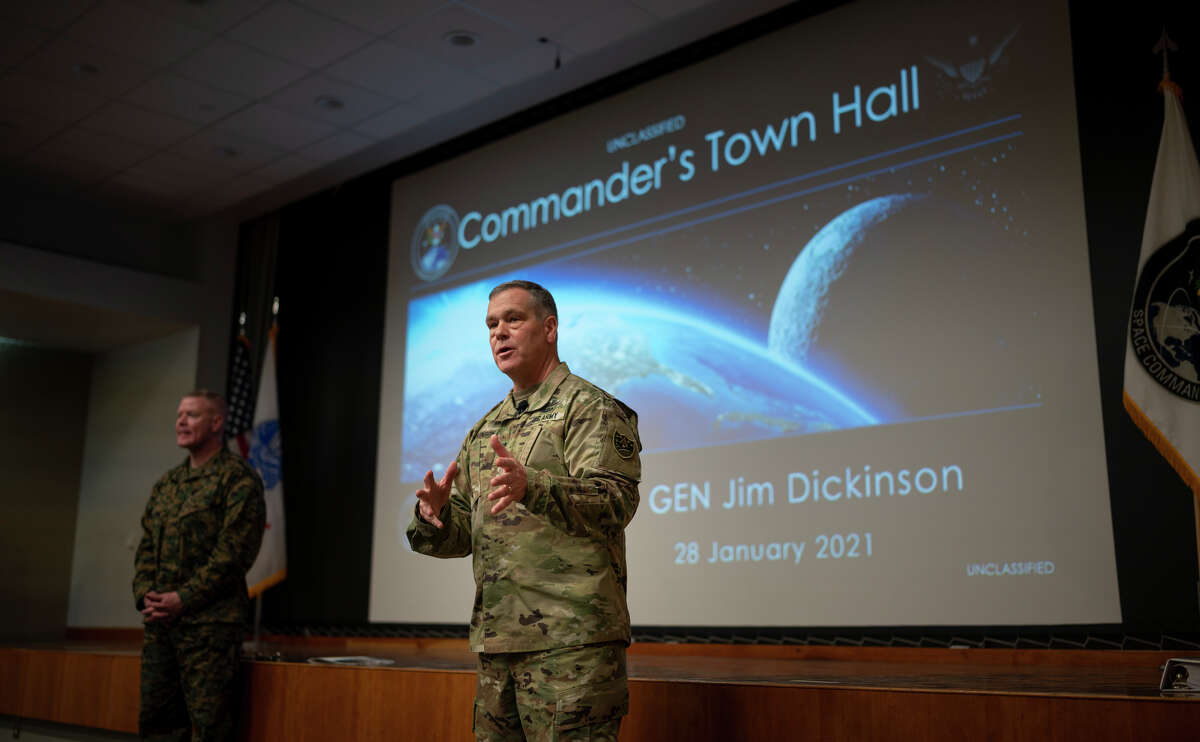 U.S. Army Gen. James Dickinson, United States Space Command commander, addresses the service members, civilians and contractors about his strategic vision, live and virtually, during his Commander's Call on Jan. 28, 2021, at Peterson Air Force Base, Colorado.
