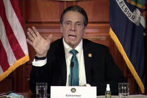 In this image taken from video, New York Gov. Andrew Cuomo speaks during a news conference Friday, Feb. 19, 2021, in Albany, N.Y. Cuomo and his health commissioner offered a full-throated defense Friday of their March decision to require nursing homes to accept patients recovering from COVID-19, saying it was the best option for overwhelmed hospitals that desperately needed to free up beds. (Office of the Governor of New York via AP)