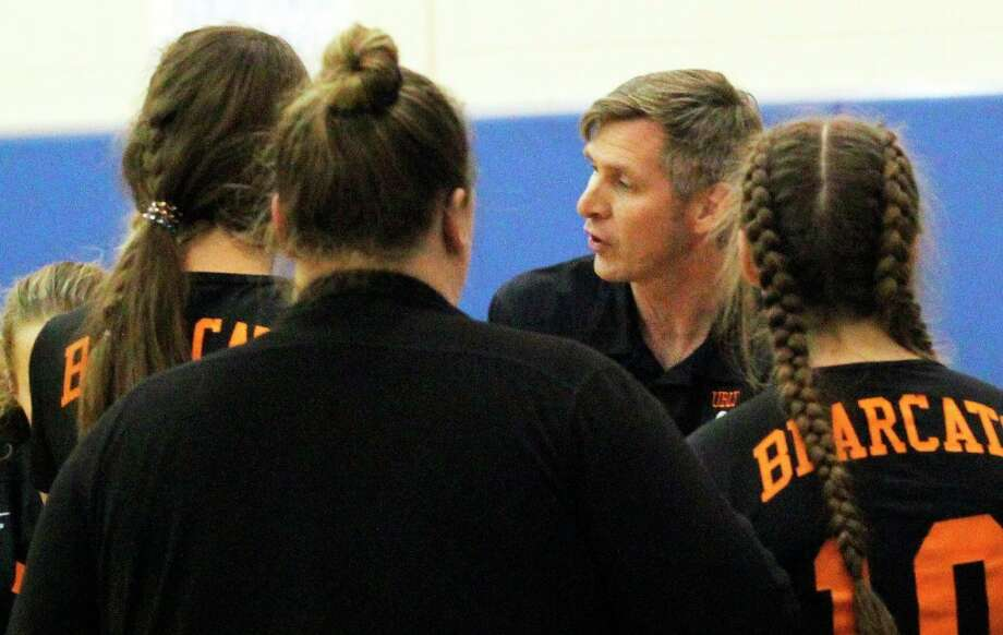To say the Spanish language has had a significant impact on the life Ubly high school teacher Aaron Mueller, seen here coaching the Bearcats volleyball team in 2019, would be an understatement. (Tribune File Photo)