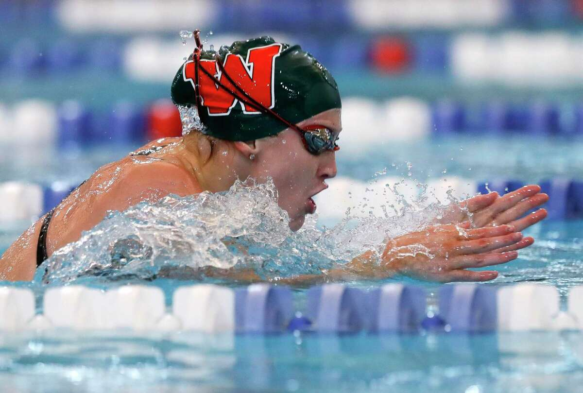 Alyssa Sorensen of The Woodlands competes in the girls 100-yard backstroke during the Region IV-6A Swimming & Diving Championships at the Conroe ISD Natatorium, Friday, Feb. 5, 2020, in Shenandoah.