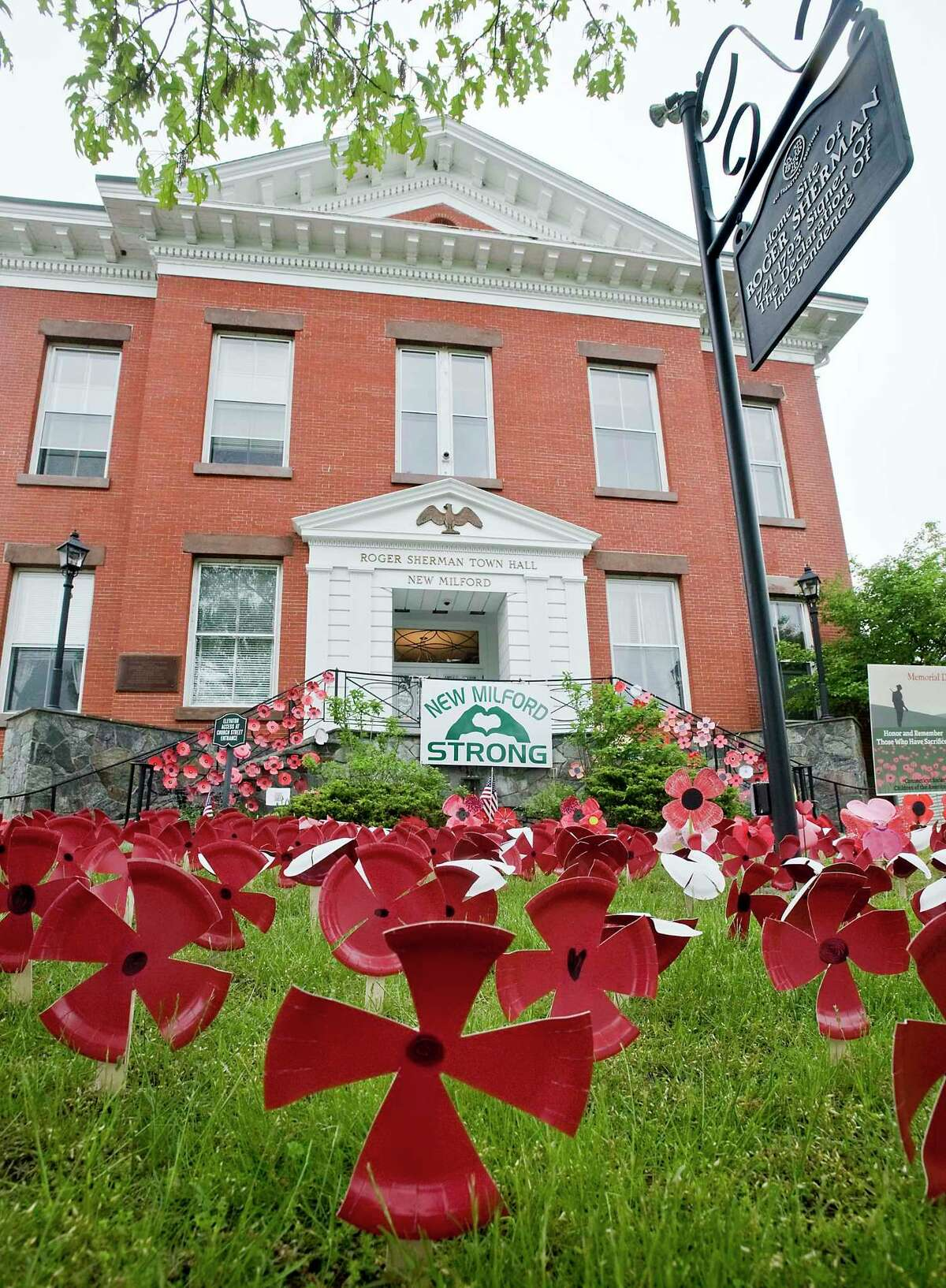 Poppies decorate Town Hall for New Milford's Memorial Day Service. Monday, May 25, 2020