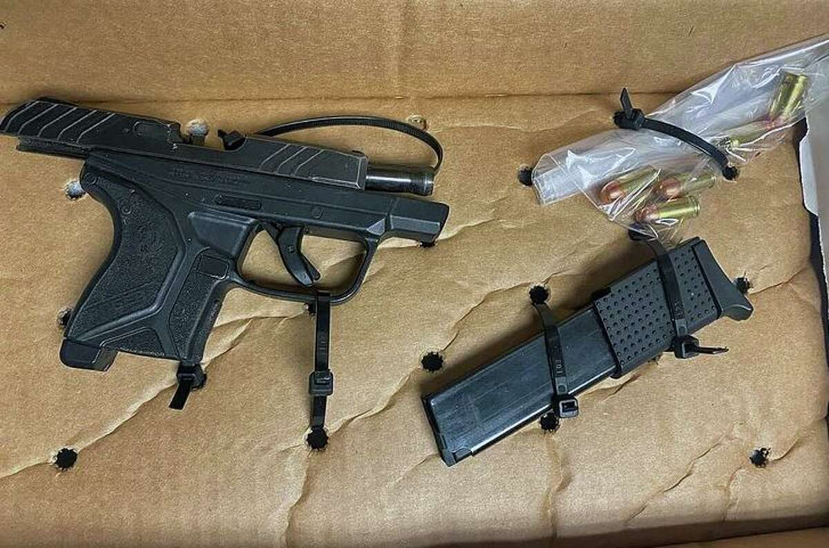 A weapon seized during an incident in Tolland, Conn., on Saturday, Feb. 20, 2021.