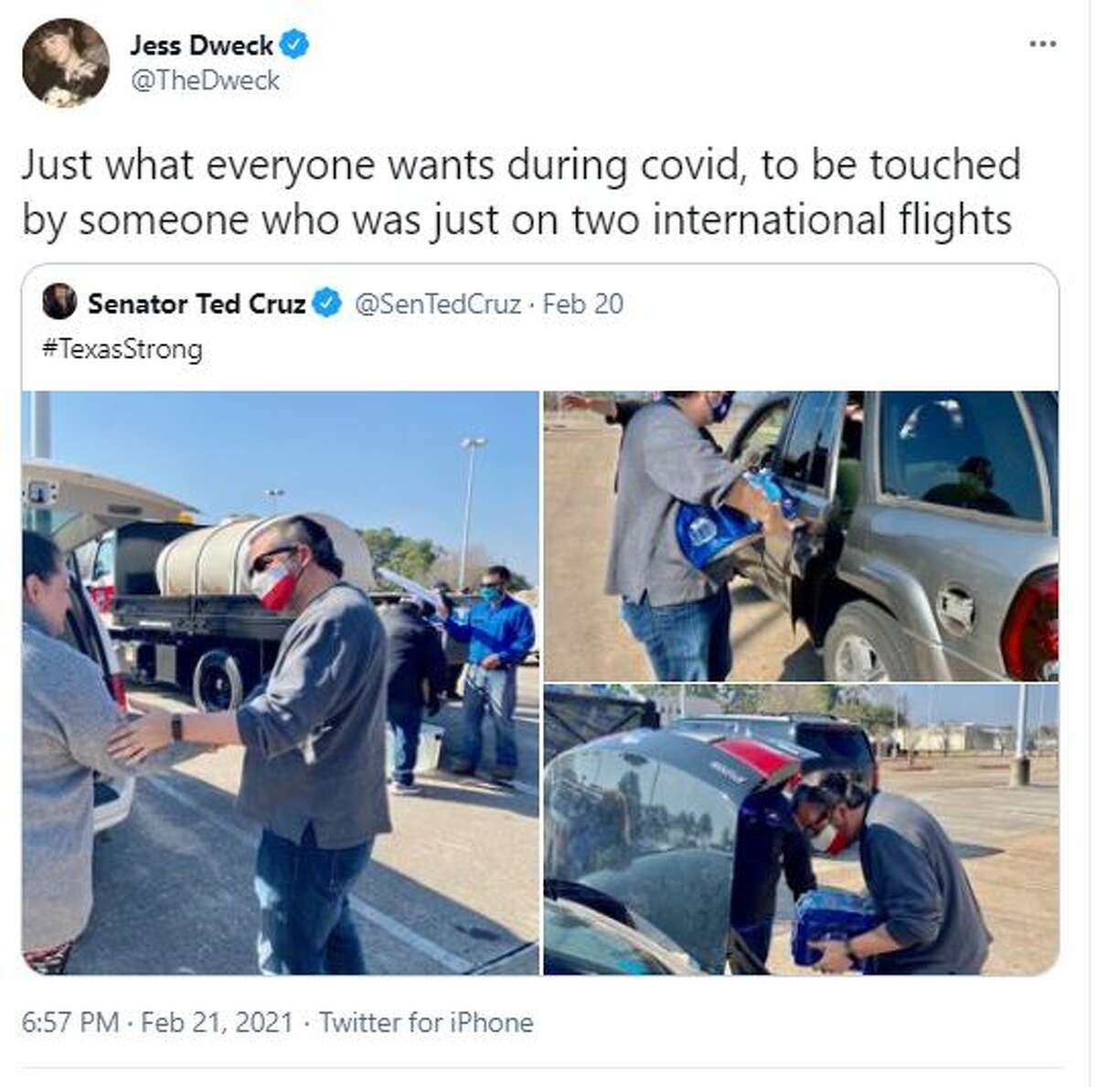 """@TheDweck said, """"Just what everyone wants during covid, to be touched by someone who was just on two international flights."""""""