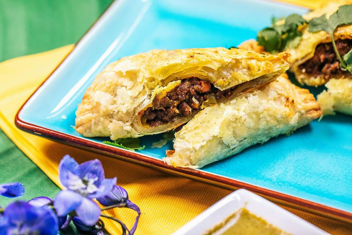 Jamaican beef patties made by chef Christina Wilson, owner of The Pleasure Principle Dining Events, are photographed in Oakland, Calif. on Tuesday, Feb. 9, 2021.