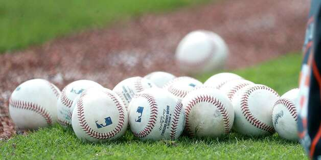 Baseballs on the field during the first full squad workouts for the Astros, in West Palm Beach, Florida, Monday, February 22, 2021. Photo: Karen Warren, Staff Photographer / @2021 Houston Chronicle