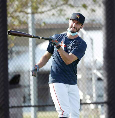 Houston Astros catcher Garrett Stubbs swings his bat as he waits to bat during the first full squad workouts for the Astros, in West Palm Beach, Florida, Monday, February 22, 2021. Photo: Karen Warren, Staff Photographer / @2021 Houston Chronicle