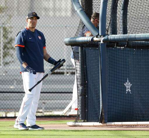 Houston Astros catcher Jason Castro waits to hit during the first full squad workouts for the Astros, in West Palm Beach, Florida, Monday, February 22, 2021. Photo: Karen Warren, Staff Photographer / @2021 Houston Chronicle