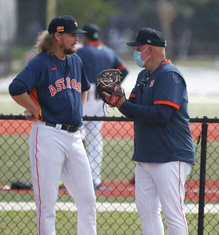 Houston Astros pitching coach Brent Strom works with pitcher Ryan Stanek during the first full squad workouts for the Astros, in West Palm Beach, Florida, Monday, February 22, 2021. Photo: Karen Warren, Staff Photographer / @2021 Houston Chronicle
