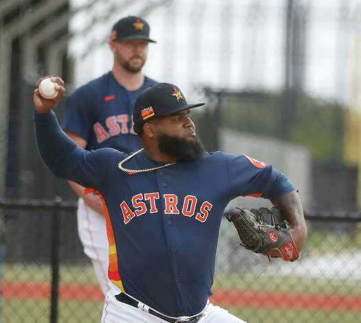 Houston Astros pitcher Francis Martes throws a bullpen session during the first full squad workouts for the Astros, in West Palm Beach, Florida, Monday, February 22, 2021. Photo: Karen Warren, Staff Photographer / @2021 Houston Chronicle