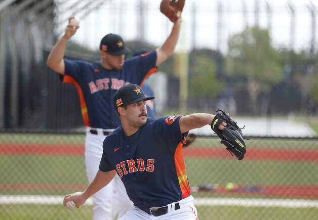 Houston Astros pitcher Carson LaRue (82) throws a bullpen session during the first full squad workouts for the Astros, in West Palm Beach, Florida, Monday, February 22, 2021. Photo: Karen Warren, Staff Photographer / @2021 Houston Chronicle