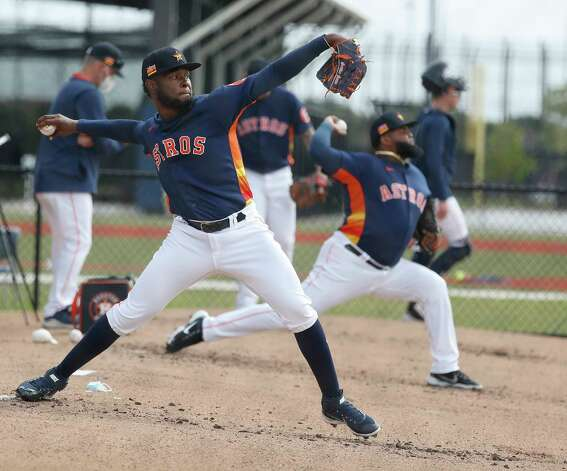 Houston Astros pitcher Cristian Javier (53) throws a bullpen session during the first full squad workouts for the Astros, in West Palm Beach, Florida, Monday, February 22, 2021. Photo: Karen Warren, Staff Photographer / @2021 Houston Chronicle