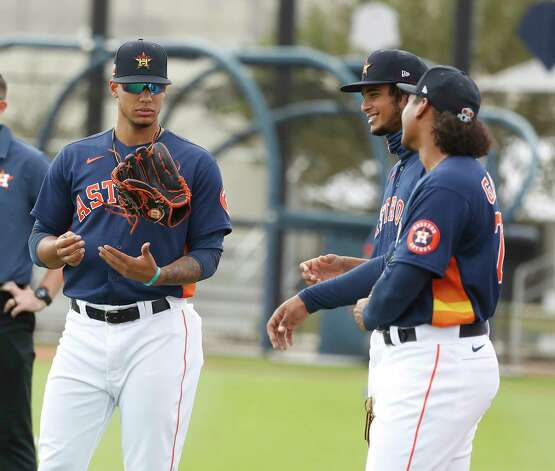 Houston Astros pitcher Bryan Abreu (66) with other pitchers during the first full squad workouts for the Astros, in West Palm Beach, Florida, Monday, February 22, 2021. Photo: Karen Warren, Staff Photographer / @2021 Houston Chronicle