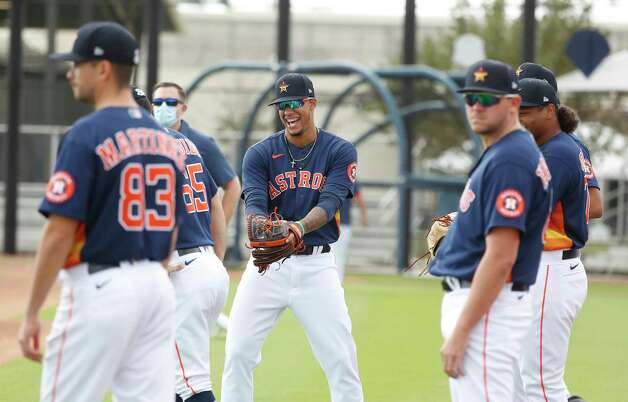 Houston Astros pitcher Bryan Abreu (66) laughs with other pitchers during the first full squad workouts for the Astros, in West Palm Beach, Florida, Monday, February 22, 2021. Photo: Karen Warren, Staff Photographer / @2021 Houston Chronicle