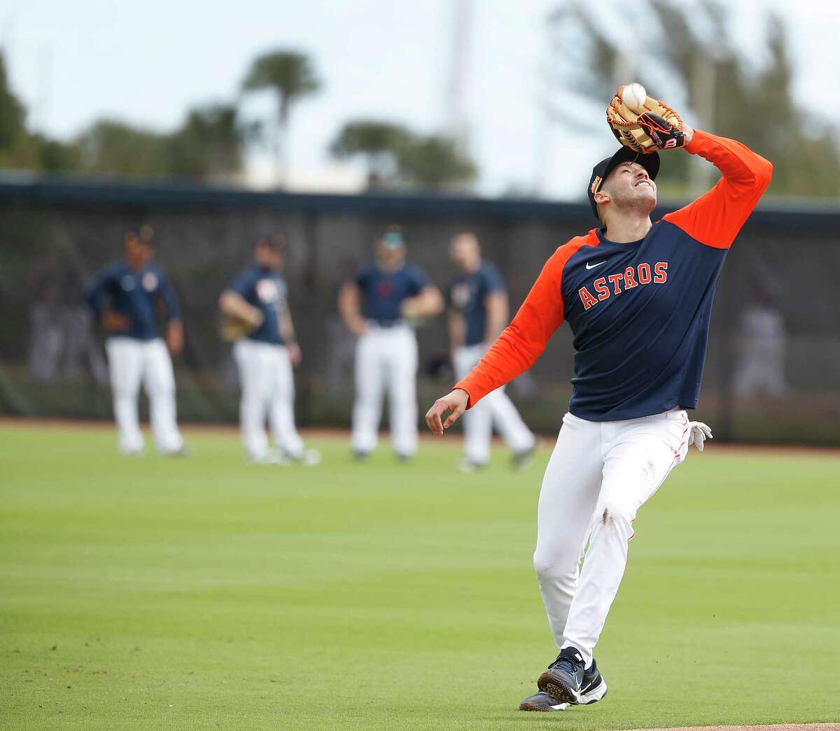 Astros shortstop Carlos Correa got to work at spring training Monday and also discussed his looming free agency afterward.