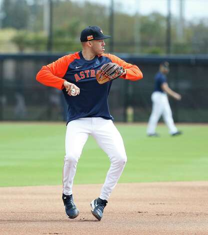 Houston Astros shortstop Carlos Correa during a drill during the first full squad workouts for the Astros, in West Palm Beach, Florida, Monday, February 22, 2021. Photo: Karen Warren, Staff Photographer / @2021 Houston Chronicle