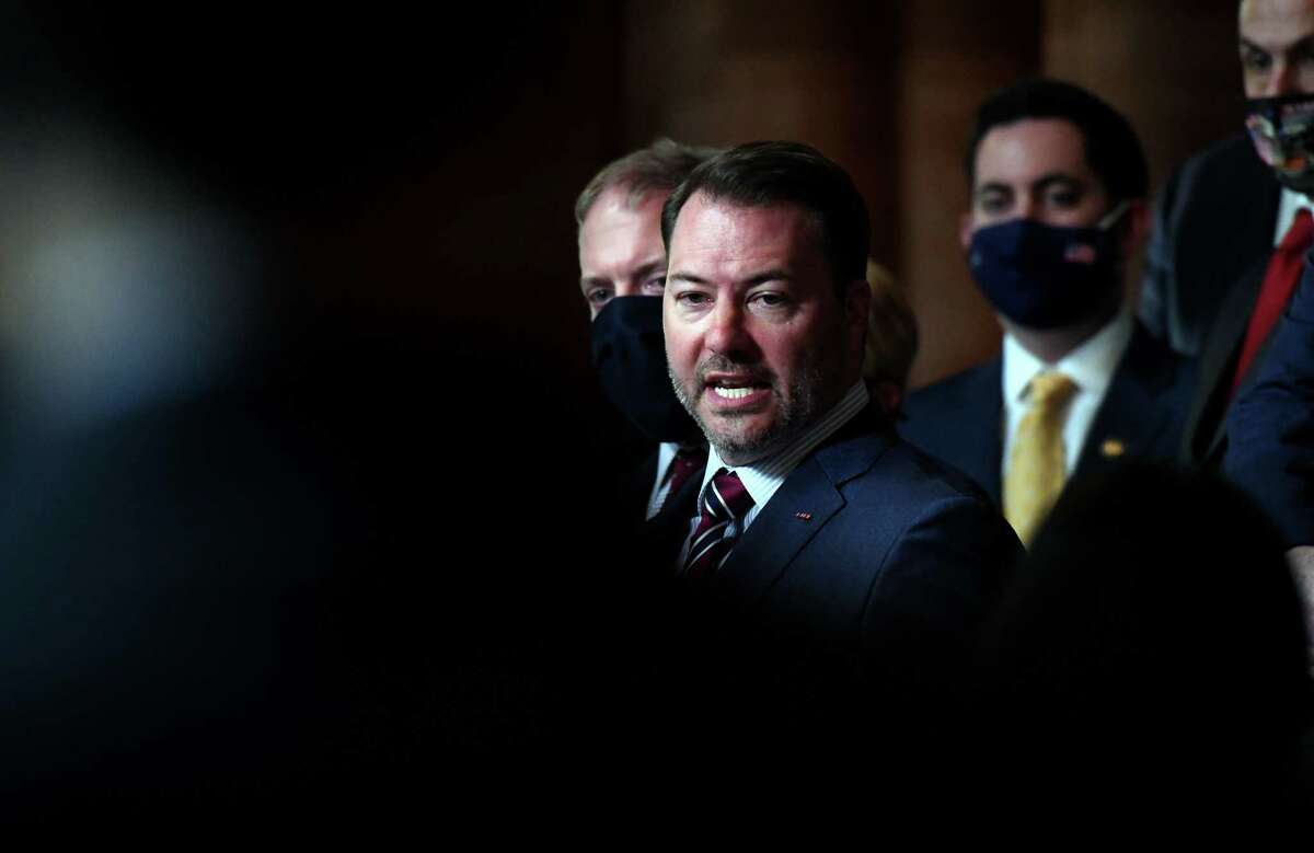 Senate Minority Leader Robert Ortt calls for Gov. Andrew Cuomo's executive powers to be stripped following recent revelations about the Cuomo administration's handling of the pandemic on Monday, Feb. 22, 2021, during a press conference at the Capitol in Albany, N.Y. (Will Waldron/Times Union)