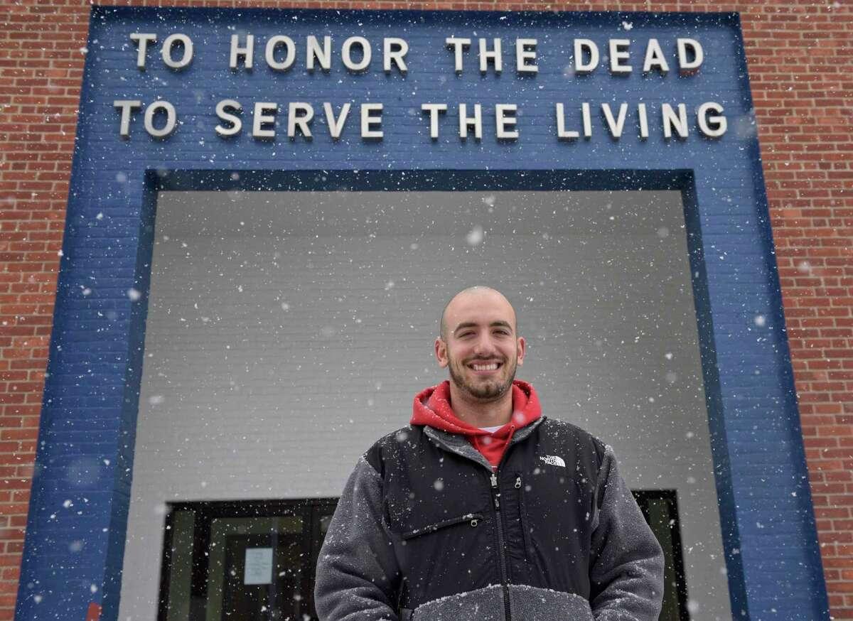 Executive Director Justin Calitro of the Danbury War Memorial. Monday, February 22, 2021, in Danbury, Conn.