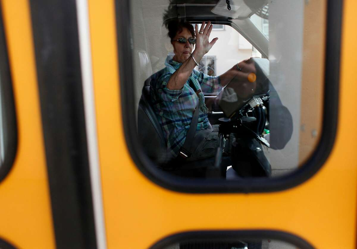 A school bus driver takes students home from Hillcrest Elementary in San Francisco.
