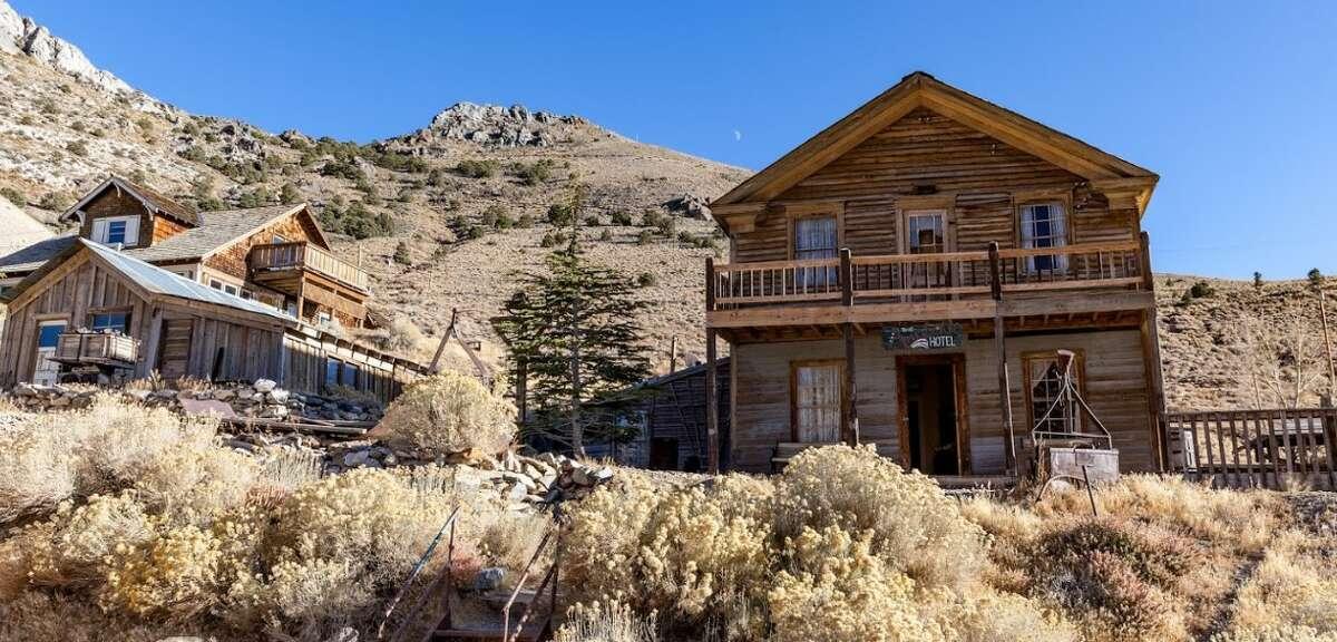 The Crapo House and the American Hotel, Cerro Gordo, Calif., before the fire.