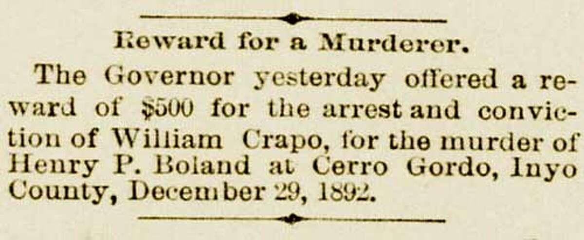 Billy Crapo reward notice.